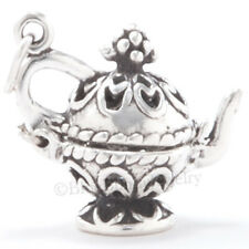 Moveable 3D FILIGREE TEA POT Charm Pendant Solid 925 STERLING SILVER Jewelry