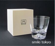 Tajima Edo Glass Mt.Fuji Rock Glass wood box made in Japan art shot you can see
