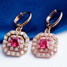 PARTY DESIGN ROSE GOLD Plated RED Cubic Zircon DROP Earrings