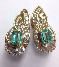 Fine! Lustrous Colombian Emerald and Diamond 14K Yellow Gold Cocktail Earrings