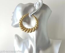 Gorgeous large vintage MATT gold tone acrylic creole style hoop earrings