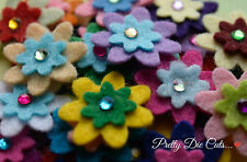 Mini Felt Flowers with sparkly gems (10) Die Cut Floral Craft Embellishments