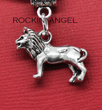 Antique Silver Plt Lion Pendant Leather Necklace Men Ladies Gift Zoology Animal
