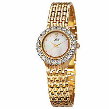 Women's Burgi BUR107YG Swiss Quartz MOP Dial Crystal Bezel Yellow Gold Watch