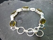 Glieder Armband-925er Silber- Länge 17-21 cm - Rauchquarz Steine( Glas gefüllt )