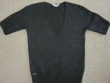 LACOSTE ~ FRANCE V-NECK GRAY SWEATER~WOOL~CASHMERE BLEND~SHIMMER WOMENS TOP XS