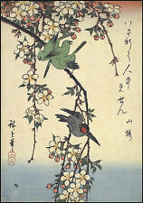 Japanese Art: Hiroshige Birds: Swallows on a Cherry Branch - Fine Art Print