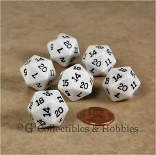 NEW Set of 6 White with Black Numbers D20 Dice Twenty Sided RPG D&D Game D20s