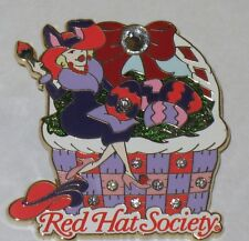 RARE WILLABEE AND WARD  APRIL RED HAT SOCIETY  WITH SWAVORSKI CRYSTALS  PIN