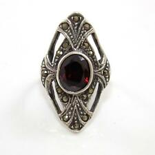 VTG Sterling Silver Red Garnet Marcasite Estate Ring Size 6