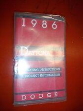 1986 DODGE DAYTONA ORIGINAL FACTORY OPERATORS OWNERS MANUAL