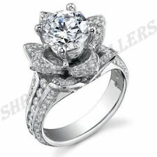 SOLID STYLE FLOWER PATTERN 925 STERLING SILVER RING FOR ENGAGEMENT A