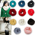 Fashion Women Winter Warm Infinity 2Circle Cable Knit Cowl Neck Long Scarf Shawl