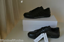 NEW VERSACE COLLECTION BLACK LEATHER ZIP SNEAKER SHOES SIZE 9 AUTHENTIC