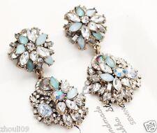 New Lady Woman Elegant clear crystal Rhinestone long Ear Studs hoop earrings 964