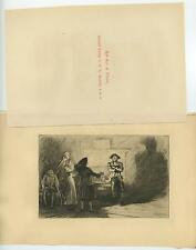 ANTIQUE ROB ROB IN PRISON SCOTTISH SCOTLAND FOLK HERO OUTLAW ETCHING OLD PRINT