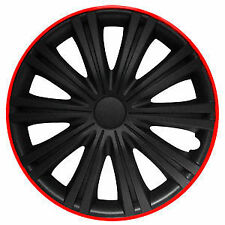 "BRAND NEW CAR 15"" GIGA BLACK AND RED WHEEL TRIMS / HUB CAPS FULL SET OF 4"