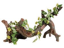 Trunk with Silk Plant Reptile Terrarium Vivarium Ornament Decoration
