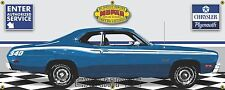 1973 PLYMOUTH 340 DUSTER BLUE RETRO CAR GARAGE SCENE BANNER SIGN ART MURAL 2X5