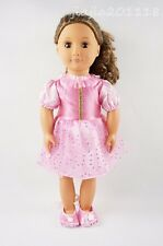 Pink Party Skirt Paillette Dress With Shoes For 18'' American Girl Doll Clothes