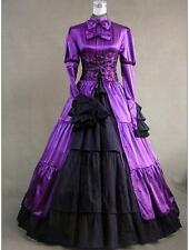 Tailor Made Victorian Gothic Satin Lace Layered Lolita cosplay party Dress
