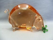 Hand Made Mouth Blown Peach Color Solid Glass Pig Eating Clover Figurine