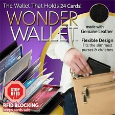 Wonder Wallet -Amazing Slim RFID Wallets As Seen on TV Black Leather 24 Cards GB