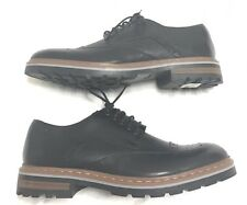 Clarks Tor England Black Leather Lace Up Wingtip Oxfords Men's Sz 9