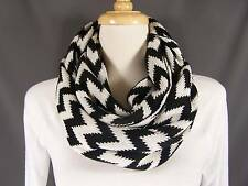 Black White chevron soft knit circle infinity endless loop long circular scarf