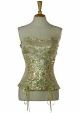 RIVER ISLAND PALE GOLD LACE UP PARTY CORSET BUSTIER STRAPLESS TOP 8-10 36 *VGC*