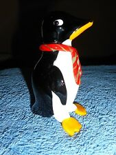 ART GLASS PENGUIN FIGURINE BLOWN GLASS KING PENGUIN RED STRIPED HOLIDAY SCARF