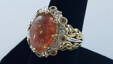 Lovely Michael Valitutti NH 925 Sterling Silver Ring Light Red & Clear Stone Sz9