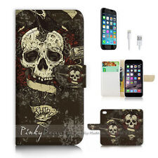 iPhone 6 6S (4.7') Flip Wallet Case Cover P2701 Pirate Skull