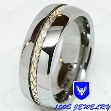 8mm Mens Tungsten Carbide Silver Inlay Wedding Band Comfort Fit Ring Size 12