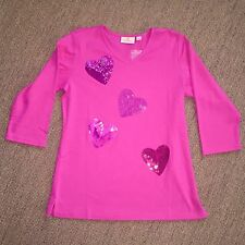 New Quacker Factory Pink V-Neck Knit Top, Sequin Sparkly Hearts, Bright Pink, XL