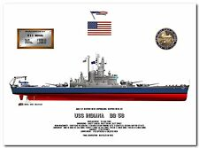 USS Indiana  BB 58, US Navy battleship print, configured for 1942 - 1944
