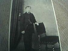 cdv photograph edwardian ipswich young man leaning chair curtain