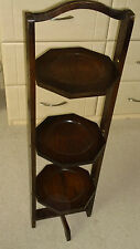 Antique Edwardian c 1910 English oak collapsible 3 tier cake stand trolley table
