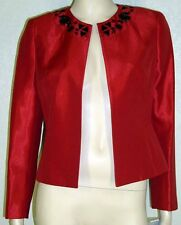 Kasper Woman NWT Size 14W Fire Red Bead Trim Shantung Jacket Blazer 7106