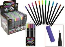 Colour Therapy Branded Pack of 12 Super Fineliner Pens with Folding Carry Case