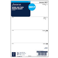 Filofax A5 2017 Week On Two Pages Planner Diary Calendar Refill 17-68522 #JP