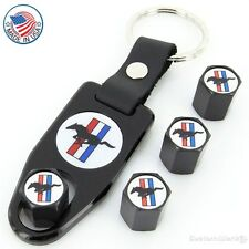 Ford Mustang Logo Black Tire Valve Caps + Wrench Key Chain