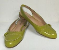 Nanette Lepore Chartreuse Lime Green Patent Leather Slingback Flat Low Heel 7B