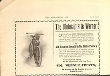 1900 WERNER FRENCH  MOTOR CYCLE  ORIGINAL VINTAGE  PART PAGE AD