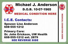 Medical Plastic Wallet ID Card Personalized Medic Custom Print 2 Sided Bracelet