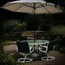 SOLAR POWERED UMBRELLA LIGHTS 60 LED STRING GARDEN PARASOL FAIRY LIGHTS OUTDOOR