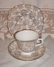 VINTAGE ROYAL VALE  PRETTY GOLD  FLORAL CHINTZ  CUP SAUCER & TEA PLATE TRIO