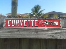 CORVETTE BLVD EMBOSSED METAL SIGN WITH RAISED LETTERS 18 BY 3 INCHES FORD CHEVY