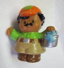 ZOO KEEPER from Fisher Price Little People Alphabet SET w/ FISH BUCKET Safari