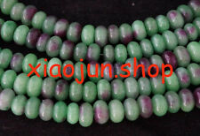 NATURAL 5x8mm colorful green jade rondelle beads 15''